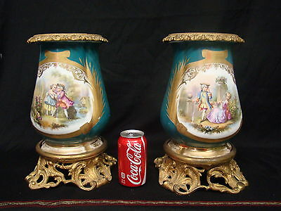Gorgeous Pair of Sevres Urns Showing Couples in Love with Beautiful Nature Scene