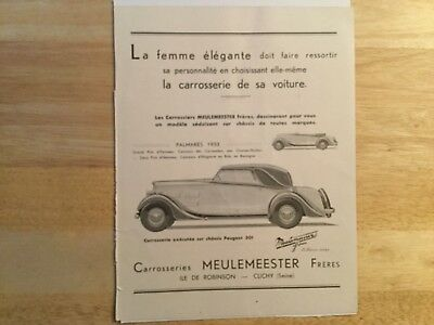 Vintage French Car Ad For Peugeot 1933