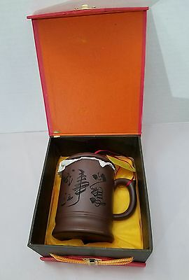 YiXing Purple Sand Ceramic Tea Mug with Infuser in Original Box with Tags Unused