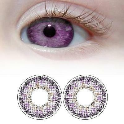 1 Pair Contact Lenses Color Soft Big Eye UV Protection Cosmetic Lens Purple HL1