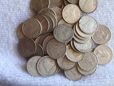 1 Roll Canadian 10 Cent Dimes 1939-1965 Face Value $5.00 80% Silver
