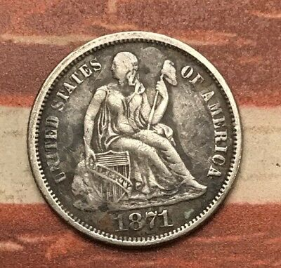 1871 10C Seated Liberty Dime 90% Silver US Coin #MB23 Very Sharp Key Date