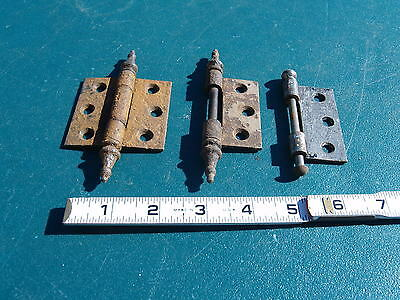 Lot Of 5 ** Antique, Steel Hinges ** 3 Pairs + Parts * Steeple & Ball End Pins,