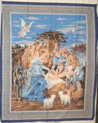 panel fabric Cranston Xmas NATIVITY WALL HANGING OR LAP QUILT TOP