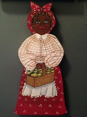 BLACK AMERICANA MAMMY Wood KITCHEN Plaque Sign hand painted 12""