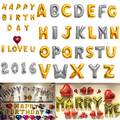 "40"" Letter & Number Foil Balloons Birthday Wedding Party Decor Gold Silver"
