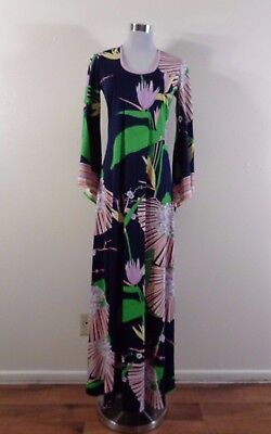 70s DARK BLUE PINK GREEN TROPICAL FLORAL & FANS POINTED BELL SLEEVE MAXI DRESS S