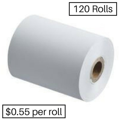 120 57x37mm Thermal Rolls ANY EFTPOS, Receipt Rolls BEST BUY!
