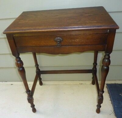 Vintage old 1 drawer small table, hall stand Oak timber Jacobean