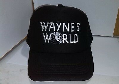 New Wayne's World Black Trucker Cap Hat Embroidered Quality Party Hat