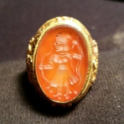 23kt. GOLD ROMAN SIGNET RING RED STONE SETTING 1st - 3rd CENTURY