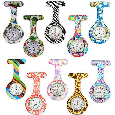 Fashion Patterned Silicone Quartz Nurses Medical Brooch Tunic Fob Watches 2017