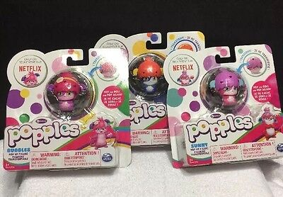 Popples Pop Up Lot Of 3 Izzy Sunny Bubbles Figures Netflix Children's NEW (T6)