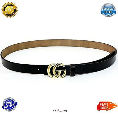 Womens Genuine Leather Thin Belts For Jeans 0.9 Wide With Letter Buckle Black