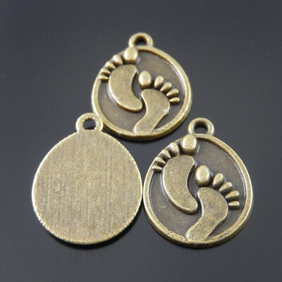 Retro Bronze Jewelry Making Zinc Alloy Engraved Oval Pendants Charms 40pcs/lot