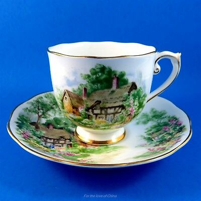 "Pretty Cottage Scenic "" Wayside "" Roslyn Tea Cup and Saucer Set"