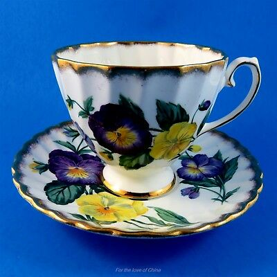 Stunning Purple and Yellow Pansy -  Pansies Gladstone Tea Cup and Saucer Set