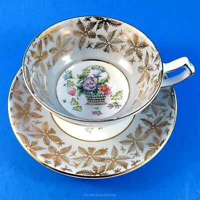 Gray and Gold Border Gladstone Floral Basket Center Tea Cup and Saucer Set