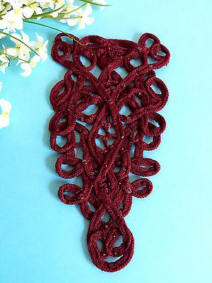 """123# Sehr Lecker Anwendung """" Bordeaux Perle """" Wolle Perle Pailletten Shabby Chic"""