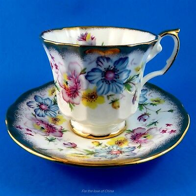 Pretty Light Pastel Elizabethan Floral Tea Cup and Saucer Set