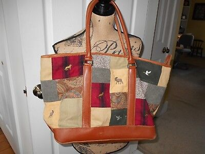 L.L.Bean Tote Bag AWESOME!! Patchwork design with some Embroidery