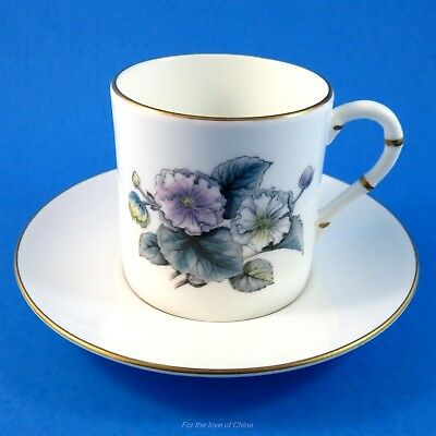 Gray Tone Floral Royal Worcester Demitasse Tea Cup and Saucer