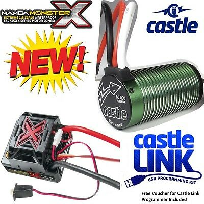 Castle Creations 1/8 Mamba Monster X Extreme WP ESC with NEU-Castle 2200kV Motor