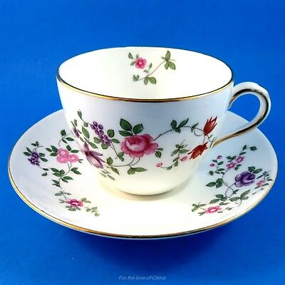 Pretty Purple and Rose Vine Crown Staffordshire Tea Cup and Saucer Set