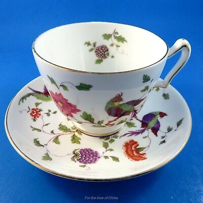Striking Crown Staffordshire Exotic Bird Design Tea Cup and Saucer
