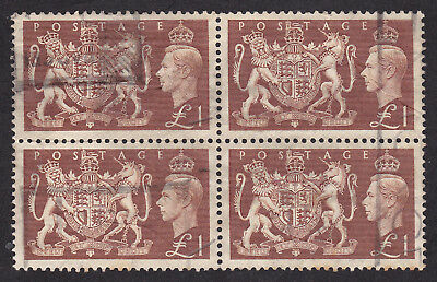 Great Britain 1951  block of 4 x £1 brown used  catalogued £180