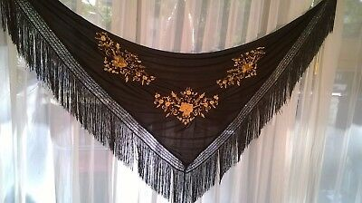 "Schal ""Manton"" andalus Schwarz/Gold -Shawl from Andalusia  ""Manton"" Black/Gold"