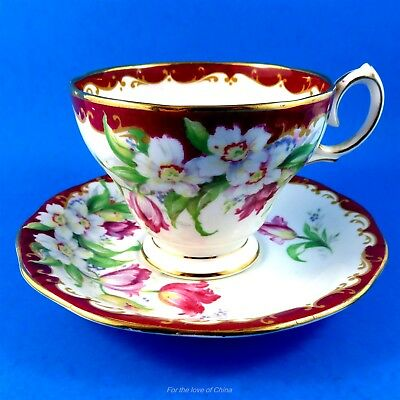 Pretty Deep Red Edge Narcissus Bell Tea Cup and Saucer Set