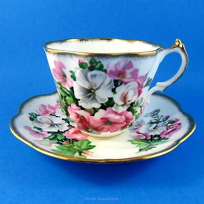 Pretty Pink & White Floral Salisbury Tea Cup and Saucer Set