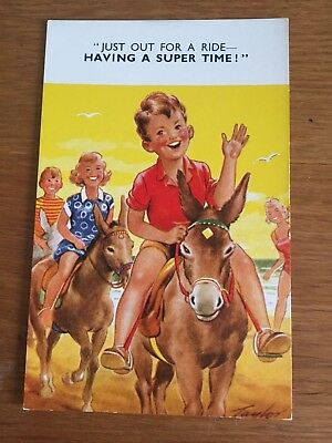 Postcard Donkey comic Taylor Bamforth Seaside Kiddy comic 1378