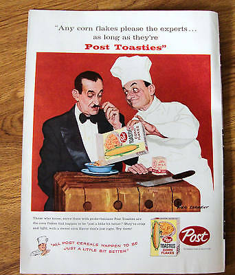 1959 Post Toasties Corn Flakes Ad  French Chef