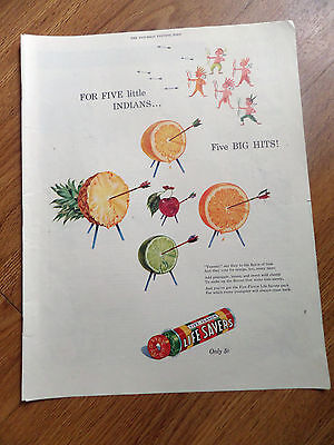 1947 Life Savers Candy Ad For Five Little Indians Five Big Hits Bow Arrow Target