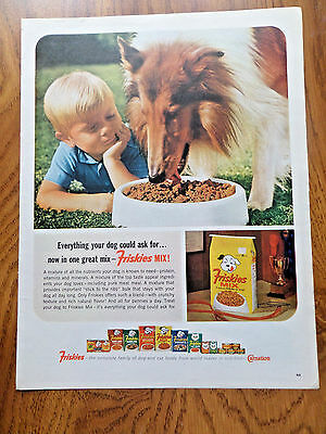 1964 Friskies Mix  Dog Food Ad   Collie Dog