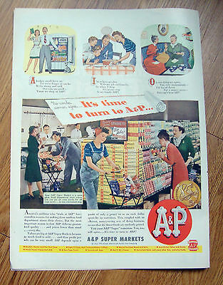 1944 A & P Coffee Ad  at the Super Market Theme 1944 Firstone Tire Ad