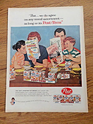 1957 Post Cereal Post Tens Ad  Family Planning Vacation Trip