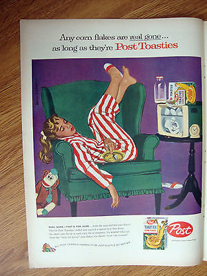 1957 Post Toasties Cereal Ad  Girl Asleep in the Chair