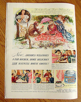 1940 Maxwell House Coffee Ad The Old South First Welcomed It Mrs Martin Jr