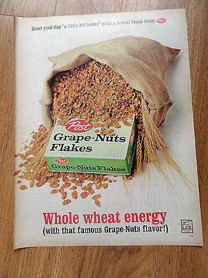 1962 Post Grape Nuts Ceral Ad Whole Wheat Energy