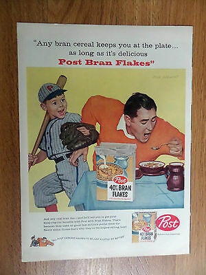 1958 Post Cereal Ad Sargent Art Dad Son Baseball
