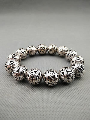 China Handwork Old Miao Silver Carve Special Character Auspicious Lucky Bracelet