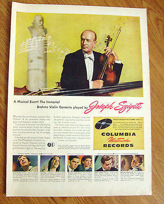 1946 Columbia Records Ad Brahms Violin Concerto Played by Joseph Szigeti
