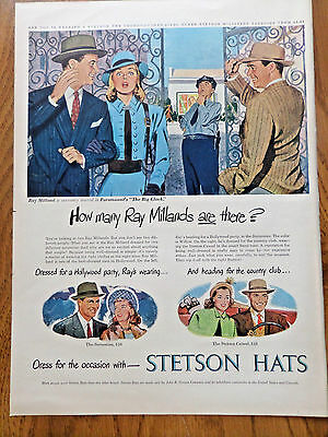 1948 Stetson Hats Ad  Movie Hollywood Star Ray Milland