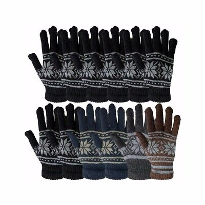 Unisex knit warm snow flake winter gloves, assorted colors, one size fits all
