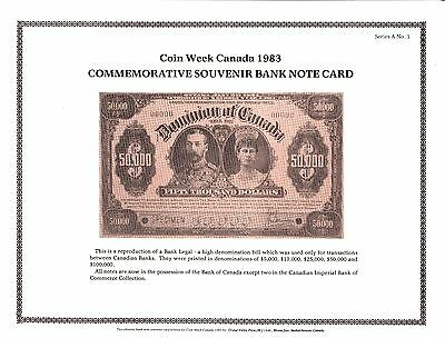 Numismatic Card Company Canada Souvenir Bank Note Card $50000 $50,000 1983