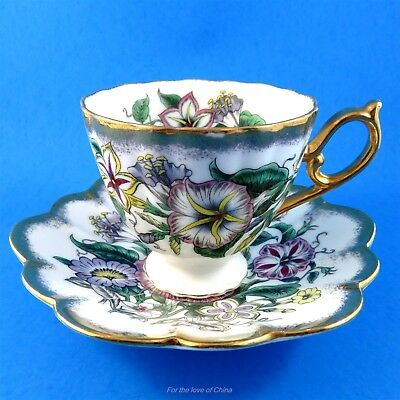 Pretty Morning Glory Bouquet Shafford Tea Cup and Saucer Set