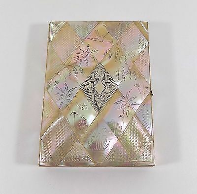 Antique Victorian Mother Of Pearl & Silver Card Case, c1890